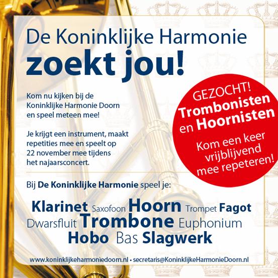 Kom de Koninklijke Harmonie Doorn versterken!